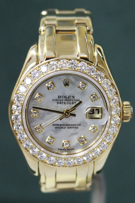 Rolex Oyster Perpetual Ladies Pearlmaster - 29mm - Yellow Gold - Diamond Bezel - Mother Of Pearl Diamond Dial - Yellow Gold Pearlmaster Bracelet - Ref. 80298
