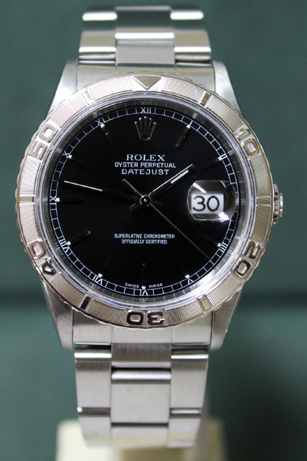 Rolex Oyster Perpetual Datejust - 36mm - Stainless Steel - Bidirectional Rotatable Turnograph Bezel - Black Stick Dial - Stainless Steel Oyster Bracelet - Ref. 16264