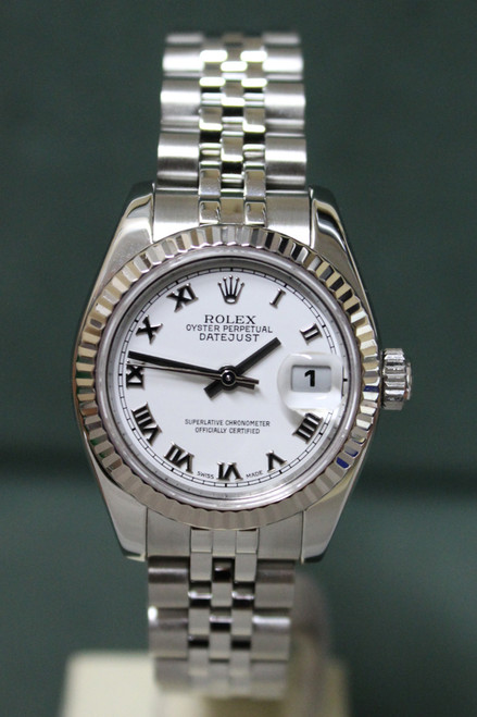 Rolex Oyster Perpetual Ladies Datejust - 26mm - Stainless Steel - Fluted Bezel - White Roman Dial - Stainless Steel Jubilee Bracelet - Ref. 179174