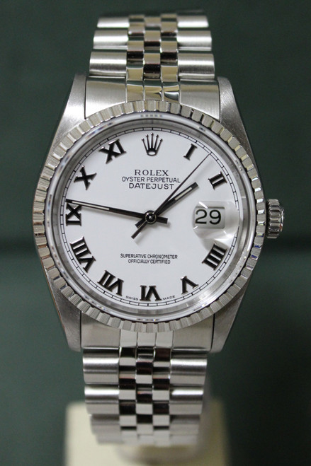 Rolex Oyster Perpetual Datejust - 36mm - Stainless Steel - Engine Turn Bezel - White Roman Dial - Stainless Steel Jubilee Bracelet - Ref. 16220