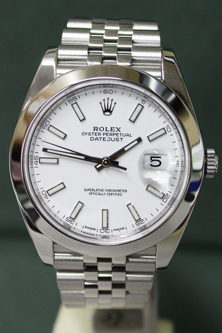 Rolex Oyster Perpetual Datejust 41 - 41mm - Stainless Steel - Smooth Bezel - White Index Dial - Stainless Steel Jubilee Bracelet - Ref. 126300