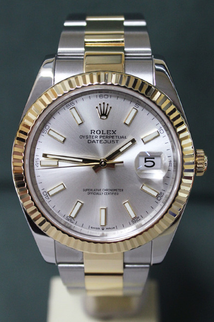 Rolex Oyster Perpetual Datejust 41 - 41mm - Two-Tone - Yellow Gold Fluted Bezel - Silver Index Dial - Two-Tone Stainless Steel And Yellow Gold Oyster Bracelet - Ref. 126333