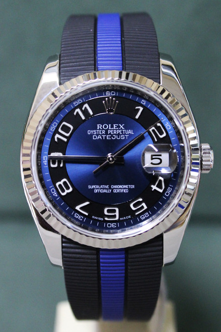 Rolex Oyster Perpetual Datejust - 36mm - Stainless Steel - Fluted Bezel - Black And Blue Arabic Dial - Black And Blue Rubber Strap - Ref. 116234