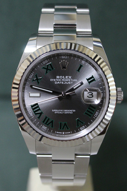 Rolex Oyster Perpetual Datejust 41 - 41mm - Stainless Steel -Fluted Bezel - Slate Green Roman Dial - Stainless Steel Oyster Bracelet - Ref. 126334