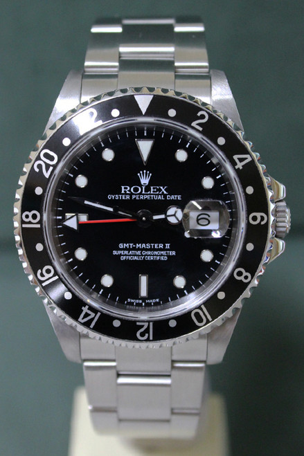 Rolex Oyster Perpetual GMT-Master II - 40mm - Stainless Steel - Bidirectional Rotatable Bezel With Black Insert - Black Dial - Stainless Steel Oyster Bracelet - Ref. 16710