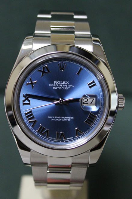 Rolex Oyster Perpetual Datejust II - 41mm - Stainless Steel - Smooth Bezel - Blue Roman Dial - Stainless Steel Oyster Bracelet - Ref. 116300