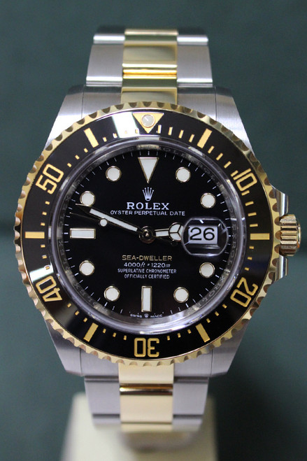 Rolex Oyster Perpetual Ceramic Sea-Dweller - 43mm - Two-Tone - Unidirectional Rotatable Bezel With Black Insert - Black Dial - Two-Tone Stainless Steel And Yellow Gold Oyster Bracelet - Ref. 126603