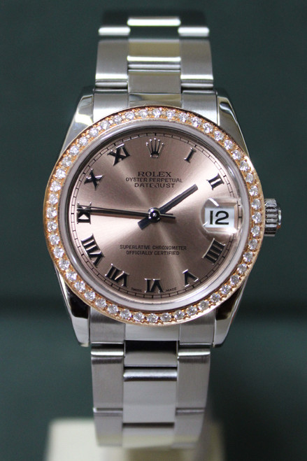 Rolex Oyster Perpetual Mid-Size Datejust - 31mm - Stainless Steel - Rose Gold Diamond Bezel - Salmon Roman Dial - Stainless Steel Oyster Bracelet - Ref. 78240