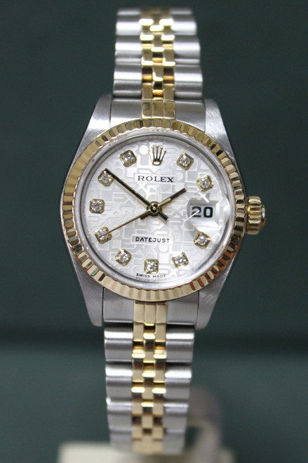 Rolex Oyster Perpetual Ladies Datejust - 26mm - Two-Tone - Yellow Gold Fluted Bezel - Silver Anniversary Diamond Dial - Two-Tone Stainless Steel And Yellow Gold Jubilee Bracelet - Ref. 79173