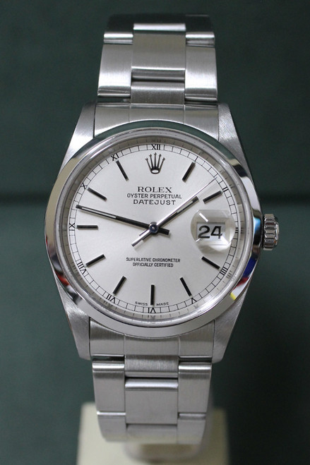 Rolex Oyster Perpetual Datejust - 36mm - Stainless Steel - Smooth Bezel - Silver Stick Dial - Stainless Steel Oyster Bracelet - Ref. 16200