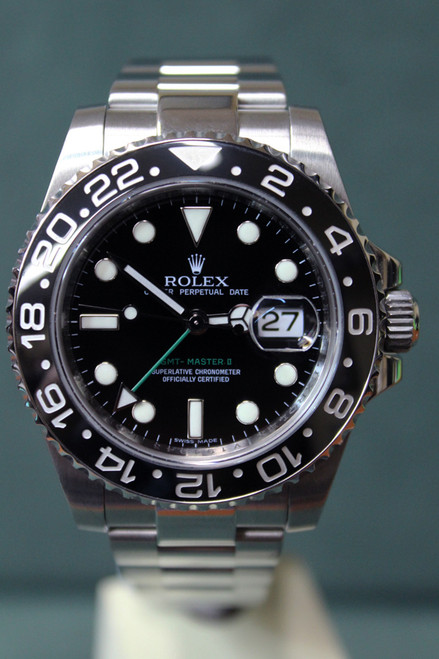 Rolex Oyster Perpetual GMT-Master II - 40mm - Stainless Steel - Bidirectional Rotatable Bezel With Black Insert - Black Dial - Stainless Steel Oyster Bracelet - Ref. 116710