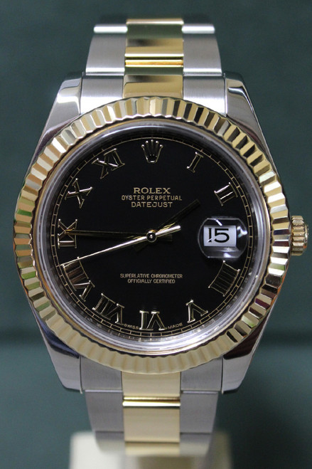 Rolex Oyster Perpetual Datejust II - 41mm - Two-Tone - Yellow Gold Fluted Bezel - Black Roman Dial - Two-Tone Stainless Steel And Yellow Gold Oyster Bracelet - Ref. 116333