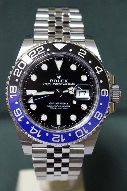 "Rolex Oyster Perpetual GMT-Master II ""BatGirl"" - 40mm - Stainless Steel - Bidirectional Rotatable Bezel With Black And Blue Insert - Black Dial - Stainless Steel Jubilee Bracelet - Ref. 126710"