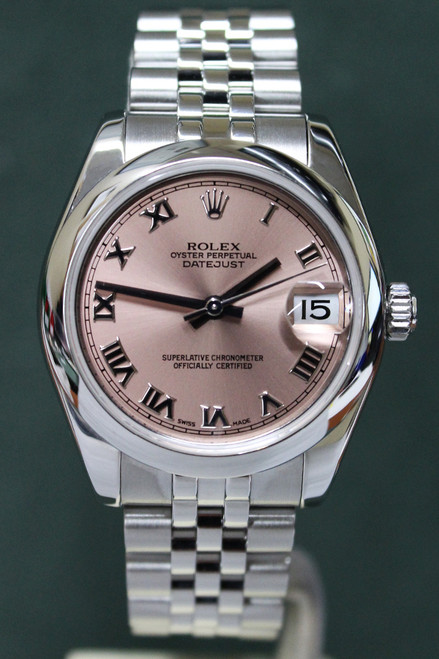 Rolex Oyster Perpetual Mid-Size Datejust - 31mm - Stainless Steel - Smooth Bezel - Salmon Roman Dial - Stainless Steel Jubilee Bracelet - Ref. 178240