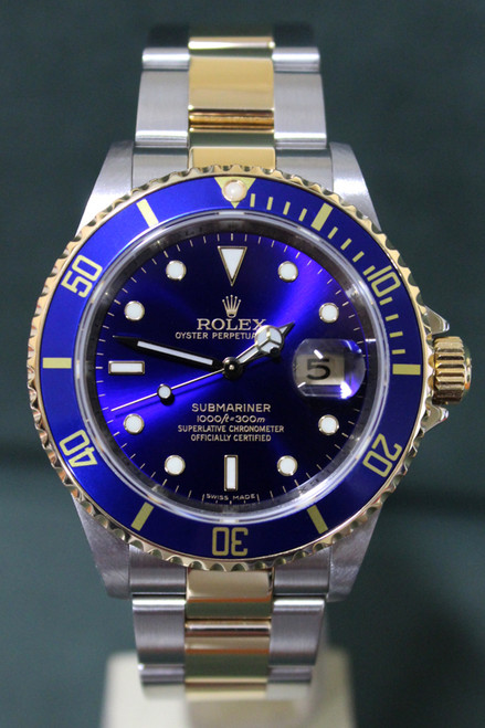 Rolex Oyster Perpetual Submariner - 40mm - Two-Tone - Yellow Gold Unidirectional Rotatable Bezel With Blue Insert - Blue Dial - Two-Tone Stainless Steel And Yellow Gold Oyster Bracelet - Ref. 16613