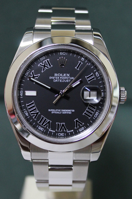 Rolex Oyster Perpetual Datejust II - 41mm - Stainless Steel - Smooth Bezel - Matte Black Roman Dial - Stainless Steel Oyster Bracelet - Ref. 116300
