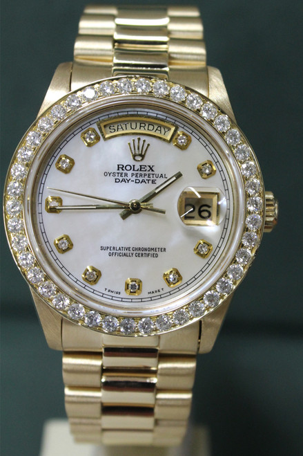 Rolex Oyster Perpetual Day-Date President - 36mm - 18k Yellow Gold - Custom Diamond Bezel - Custom Mother Of Pearl Diamond Dial - 18k Yellow Gold President Bracelet - Ref. 18038