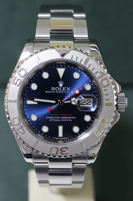 Rolex Oyster Perpetual Yacht-Master - 40mm - Stainless Steel - Bidirectional Rotatable Platinum Bezel - Blue Dial - Stainless Steel Oyster Bracelet - Ref. 16622