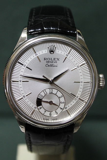 Rolex Oyster Perpetual Cellini - 39mm - Stainless Steel - Silver Guilloche Dial - Black Leather Strap - Ref. 50529