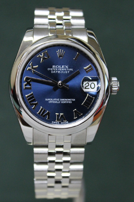 Rolex Oyster Perpetual Mid-Size Datejust - 31mm - Stainless Steel - Smooth Bezel - Blue Roman Dial - Jubilee Bracelet - Ref. 178240