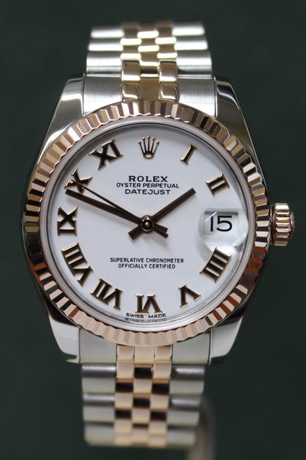 Rolex Oyster Perpetual Mid-Size Datejust - 31mm - Two-Tone - Rose Gold Fluted Bezel - White Roman Dial - Two-Tone Stainless Steel And Rose Gold Jubilee Bracelet - Ref. 178271