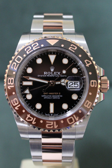 "Rolex Oyster Perpetual Ceramic GMT-Master II ""RootBeer"" - 40mm - Two-Tone - Rose Gold Bidirectional Rotatable Bezel With Black And Brown Insert - Black Dial - Two-Tone Stainless Steel And Rose Gold Oyster Bracelet - Ref. 126711"