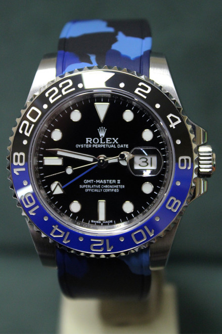 "Rolex Oyster Perpetual GMT-Master II ""Batman"" - 40mm - Stainless Steel - Bidirectional Rotatable Bezel With Black And Blue Insert - Black Dial - Blue Camouflage Rubber B Strap - Ref. 116710"