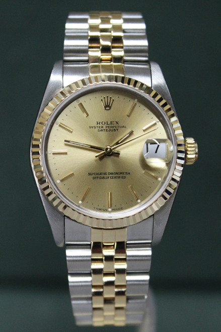 Rolex Oyster Perpetual Mid-Size Datejust - 31mm - Two-Tone - Yellow Gold Fluted Bezel - Champagne Stick Dial - Two-Tone Jubilee Bracelet - Ref. 68273