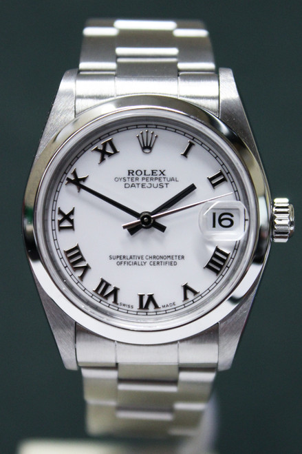 Rolex Oyster Perpetual Mid-Size Datejust - 31mm - Stainless Steel - Smooth Bezel - White Roman Dial - Stainless Steel Oyster Bracelet - Ref. 178240