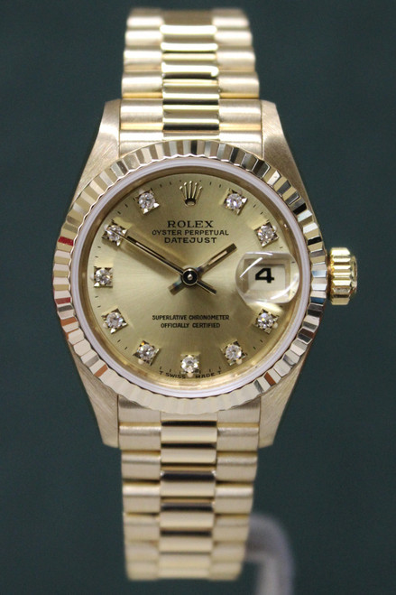Rolex Oyster Perpetual Ladies Datejust President - 26mm - Yellow Gold - Fluted Bezel - Champagne Diamond Dial - Yellow Gold President Bracelet - Ref. 69178