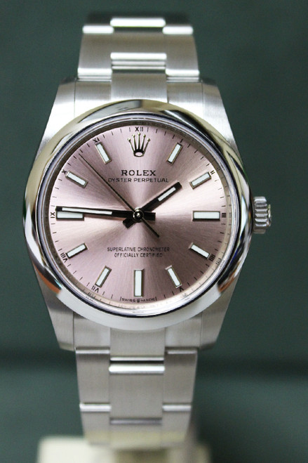 Rolex Oyster Perpetual - 34mm - Stainless Steel - Smooth Bezel - Pink Baton Dial - Oyster Bracelet - Ref. 124200