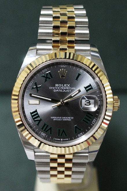"""Rolex Oyster Perpetual Datejust 41 - 41mm - Two-Tone - Yellow Gold Fluted Bezel - """"Wimbledon"""" Dial - Two-Tone Jubilee Bracelet - Ref. 126333"""