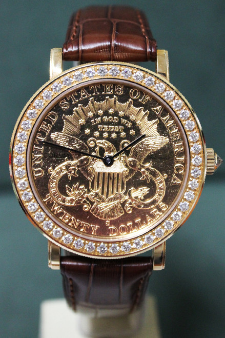 Corum Heritage $20 Coin - 37mm - Yellow Gold - Diamond Bezel - Yellow Gold Coin Dial - Brown Leather Strap - Ref. 293.646.54/0001