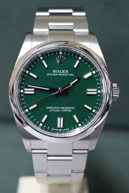 Rolex Oyster Perpetual - 36mm - Stainless Steel - Smooth Bezel - Green Index Dial - Oyster Bracelet - Ref. 126000