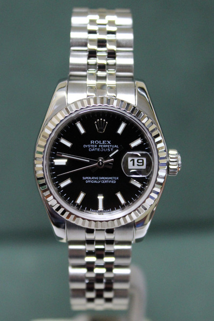 Rolex Oyster Perpetual Ladies Datejust - 26mm - Stainless Steel - Fluted Bezel - Black Index Dial - Jubilee Bracelet - Ref. 179174