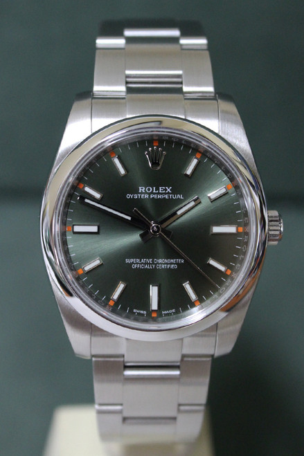 Rolex Oyster Perpetual - 34mm - Stainless Steel - Smooth Bezel - Olive Green Index Dial - Oyster Bracelet - Ref. 114200