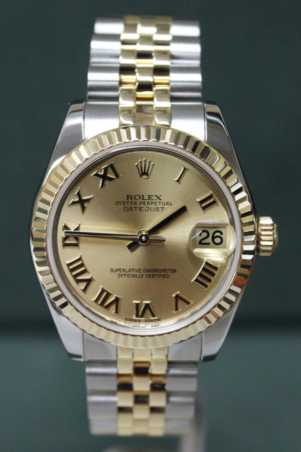 Rolex Oyster Perpetual Mid-Size Datejust - 31mm - Two-Tone - Yellow Gold Fluted Bezel - Champagne Roman Dial - Two-Tone Jubilee Bracelet - Ref. 178273