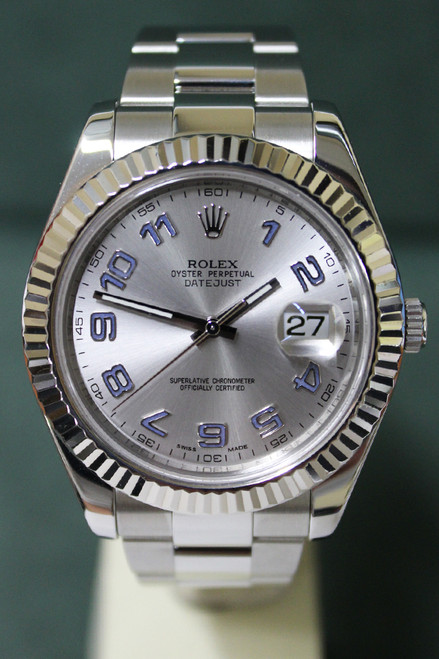 Rolex Oyster Perpetual Datejust II - 41mm - Stainless Steel - Fluted Bezel - Silver Arabic Dial - Oyster Bracelet - Ref. 116334