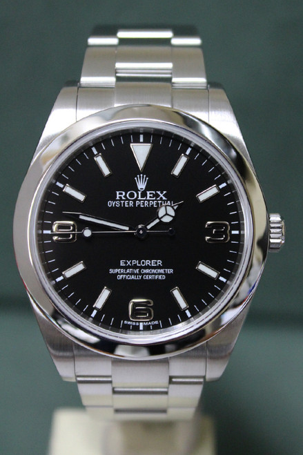 Rolex Oyster Perpetual Explorer - 39mm - Stainless Steel - Smooth Bezel - Black Index Dial - Stainless Steel Oyster Bracelet - Ref. 214270