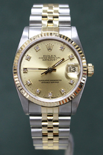 Rolex Oyster Perpetual Mid-Size Datejust - 31mm - Two-Tone - Yellow Gold Fluted Bezel - Champagne Factory Diamond Dial - Two-Tone Jubilee Bracelet - Ref. 68273