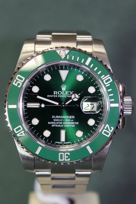 """Rolex Oyster Perpetual Submariner Date """"Hulk"""" - 40mm - Stainless Steel - Unidirectional Rotatable Bezel With Green Insert - Green Dial - Oyster Bracelet - Ref. 116610"""