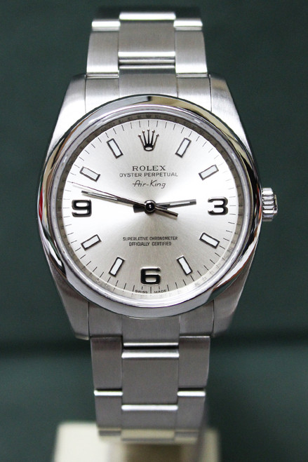 Rolex Oyster Perpetual Air-King - 34mm - Stainless Steel - Smooth Bezel - Silver Index Dial - Oyster Bracelet - Ref. 114200