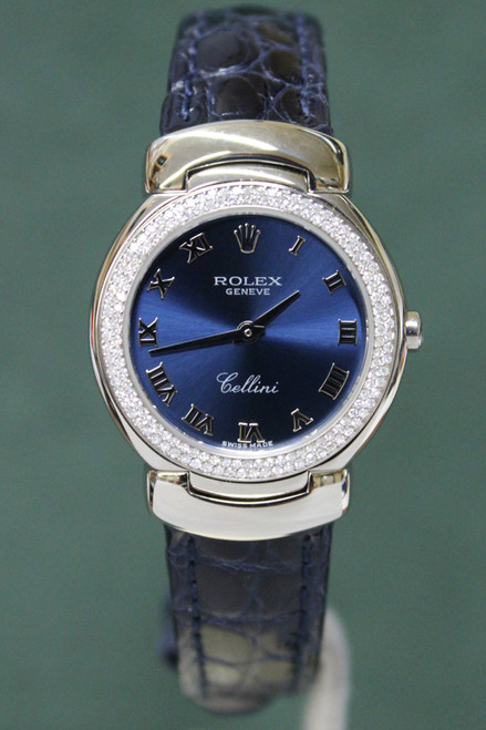 Rolex Oyster Perpetual Ladies Cellini - 26mm - White Gold - Diamond Bezel - Blue Roman Dial - Navy Blue Leather Strap - Ref. 6671