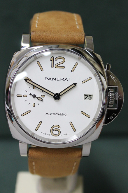 Panerai 1043 - 38mm - Stainless Steel - Steel Bezel - White Dial - Camel Suede Straps - Ref. 1043