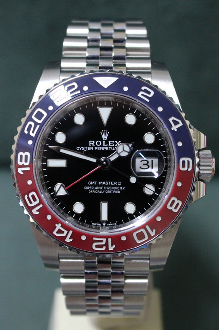 "Rolex Oyster Perpetual GMT-Master II ""Pepsi"" - 40mm - Stainless Steel - Bidirectional Rotatable Bezel With Blue And Red Insert - Black Dial - Stainless Steel Jubilee Bracelet - Ref. 126710"