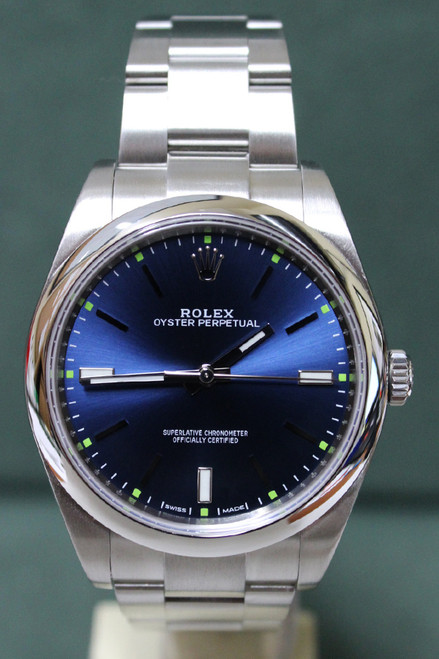 Rolex Oyster Perpetual - 39mm - Stainless Steel - Smooth Bezel - Blue Stick  Dial - Oyster Bracelet - Ref. 114300