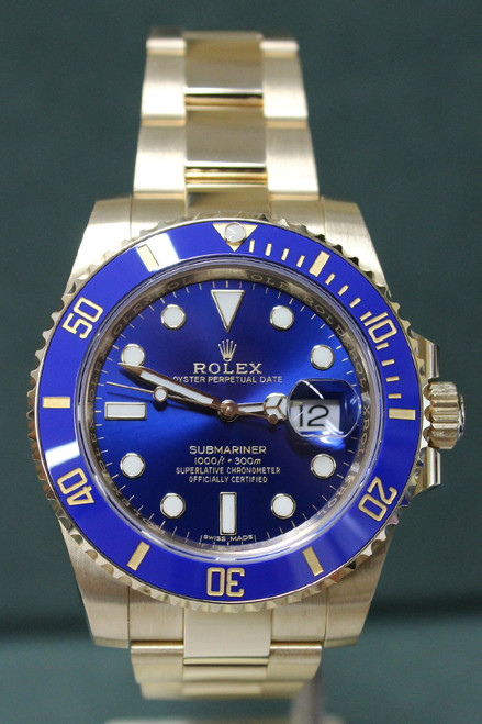 Rolex Oyster Perpetual Ceramic Submariner Date - 40mm - 18k Yellow Gold - Unidirectional Rotatable Bezel With Blue Insert - Blue Dial - 18k Yellow Gold Oyster Bracelet - Ref. 116618