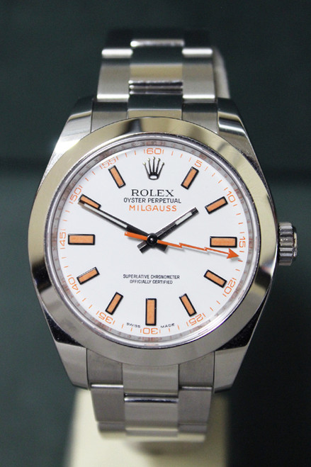 Rolex Oyster Perpetual Milgauss - 40mm - Stainless Steel - Smooth Bezel - White Index Dial -  Stainless Steel Oyster Bracelet - Ref. 116400