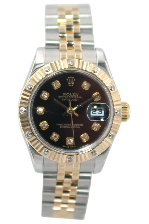 b7119355157d Rolex Oyster Perpetual Lady Datejust - 26mm- Two Tone - Black Diamond Dial  - Fluted