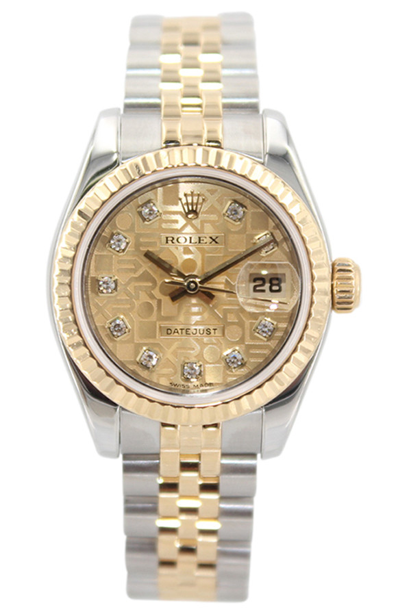 4ae18c5aa12 Rolex Oyster Perpetual Lady Datejust - 26mm - Two Tone - Champagne  Anniversary Diamond Dial -